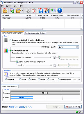 Screenshot of Advanced JPEG Compressor. Click to enlarge